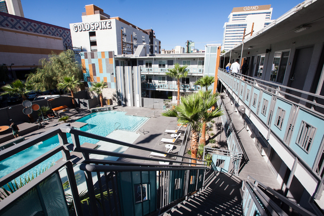 The Oasis at Gold Spike, a 44-room boutique hotel operated by the Downtown Project, is seen during a tour for news media in downtown Las Vegas on Tuesday, Oct. 21, 2014. (Chase Stevens/Las Vegas R ...