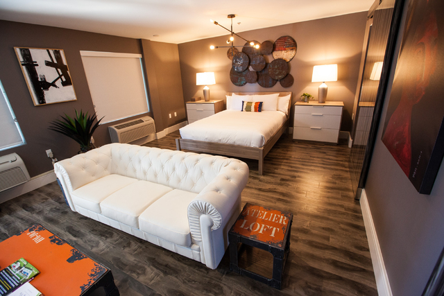 A suite is seen at the Oasis at Gold Spike, a 44-room boutique hotel operated by the Downtown Project, during a tour for news media in downtown Las Vegas on Tuesday, Oct. 21, 2014. (Chase Stevens/ ...