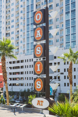 A sign is seen at the Oasis at Gold Spike, a 44-room boutique hotel operated by the Downtown Project, during a tour for news media in downtown Las Vegas on Tuesday, Oct. 21, 2014. (Chase Stevens/L ...
