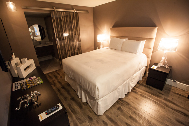 A room is seen at the Oasis at Gold Spike, a 44-room boutique hotel operated by the Downtown Project, during a tour for news media in downtown Las Vegas on Tuesday, Oct. 21, 2014. (Chase Stevens/L ...
