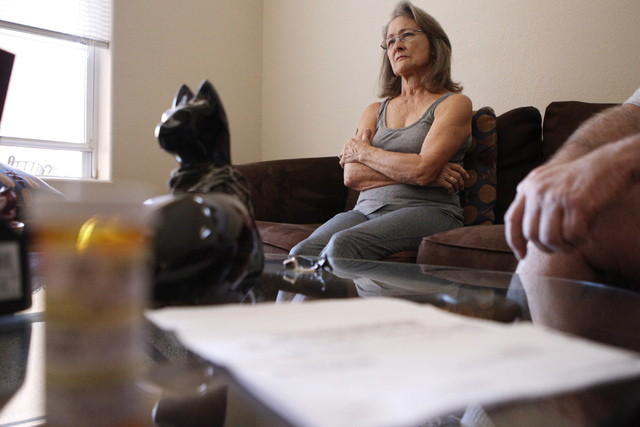 Diane Heilman with her husband Brian, not pictured, are interviewed  about their medical conditions at their home in Las Vegas Thursday, Oct. 9, 2014. Diane Heilman uses hydrocodone, a drug to tre ...