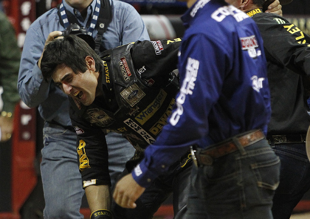 Silvano Alves celebrates after riding Asteroid to win the 2014 Professional Bull Riders World Finals at the Thomas and Mack Arena in Las Vegas on Sunday, Oct. 26, 2014. (Justin Yurkanin/Las Vegas  ...