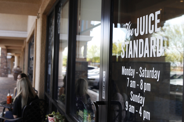 The Juice Standard, 4555 S Fort Apache Road, Suite 144, in Las Vegas is seen on Saturday, Oct. 4, 2014. (Erik Verduzco/Las Vegas Review-Journal)