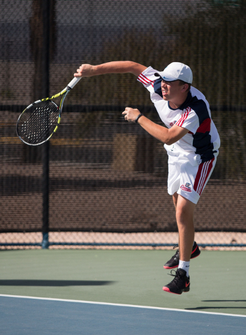 Coronado's Sam Grant serves during the Sunrise Region boys team championship at Darling Tennis Center on Friday, Oct. 10, 2014. The overall region title went to Coronado, 10-8. (Samantha Clemens-K ...