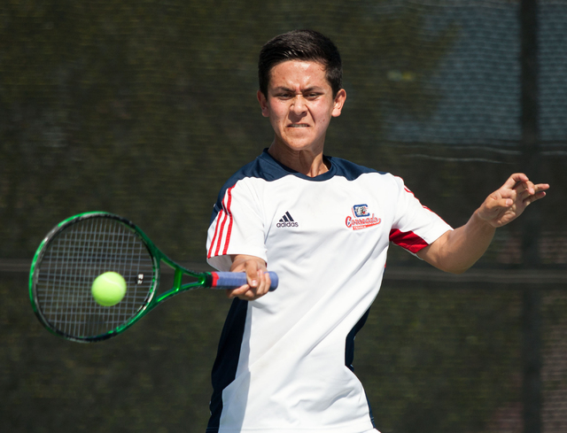 Coronado's Kyle Harris competes during the Sunrise Region boys team championship at Darling Tennis Center on Friday, Oct. 10, 2014. The overall region title went to Coronado, 10-8. (Samantha Cleme ...