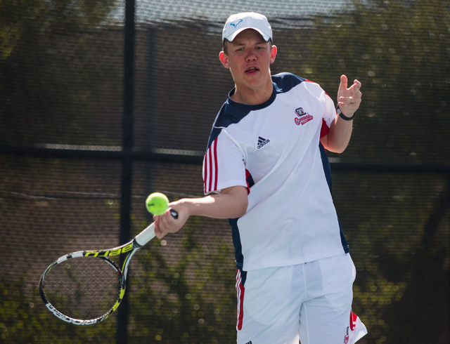 Coronado's Sam Grant competes in the Sunrise Region boys team championship at Darling Tennis Center on Friday, Oct. 10, 2014. The overall region title went to Coronado, 10-8. (Samantha Clemens-Ker ...