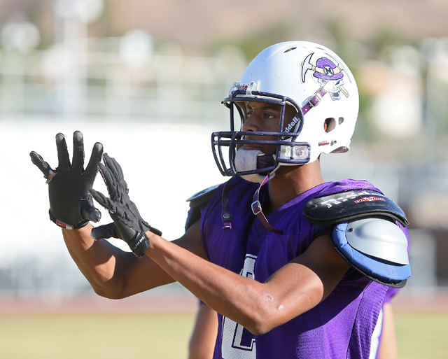 Sunrise Mountain senior wide receiver Jamilo Whitten participates in a practice at Sunrise Mountain High School Wednesday, Oct. 15, 2014, in Las Vegas. Sunrise Mountain won their third varsity gam ...