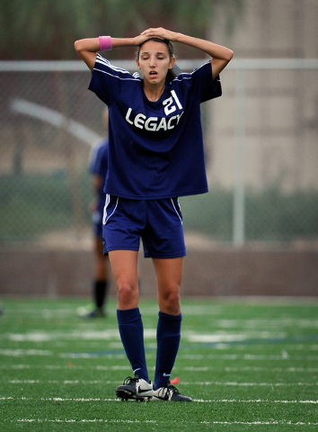 Legacy High School's Nadia Hernandez displays her frustration during a soccer match against Bishop Gorman at Bishop Gorman High School on Tuesday, Oct. 7, 2014. Hernandez, the area's top goal scor ...