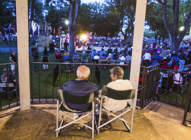 People gather for a concert at the Courthouse Plaza on Saturday, June 1 ,2014  in Prescott, Ariz. The area is a popular gathering place for families.  (Jeff Scheid/Las Vegas Review-Journal)