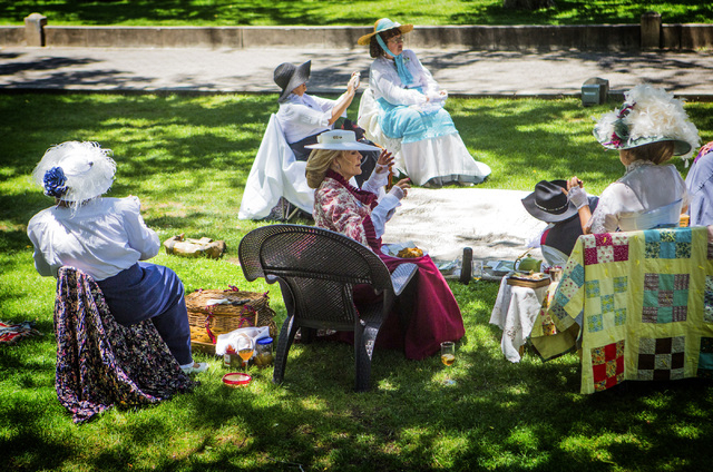 People in period clothes gather at the Courthouse Plaza on Saturday, June 1 ,2014  in Prescott, Ariz. The area is a popular gathering place for families.  (Jeff Scheid/Las Vegas Review-Journal)