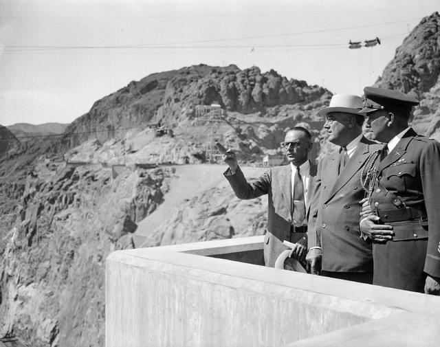 Pres. Franklin Roosevelt viewed the Boulder Dam project for the first time in Nevada at its border with Arizona, Sept. 30, 1935.  Walker Young, in charge of the work for the U.S. Bureau of Reclama ...