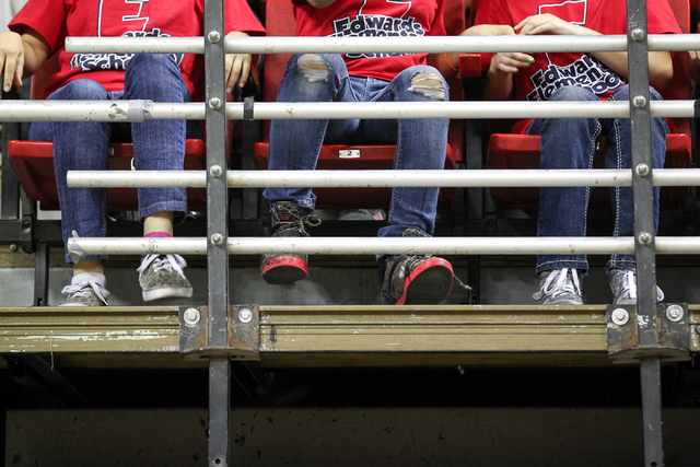Students from Edwards Elementary School stomp their feet during the Rebel Reading Challenge launch event at the Thomas & Mack Center at UNLV in Las Vegas on Wednesday, Oct. 15, 2014. The event, wh ...