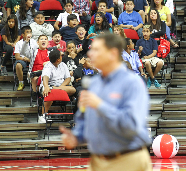 Students react as Clark County School District Superintendent Pat Skorkowsky speaks during the Rebel Reading Challenge launch event at the Thomas & Mack Center at UNLV in Las Vegas on Wednesday, O ...