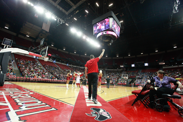 UNLV basketball coach Dave Rice is introduced during the Rebel Reading Challenge launch event at the Thomas & Mack Center at UNLV in Las Vegas on Wednesday, Oct. 15, 2014. The event, which feature ...