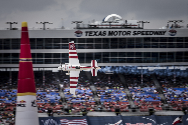 Paul Bonhomme of Great Britain performs during the finals for the sixth stage of the Red Bull Air Race World Championship at the Texas Motor Speedway in Fort Worth, Texas, United States on Septemb ...