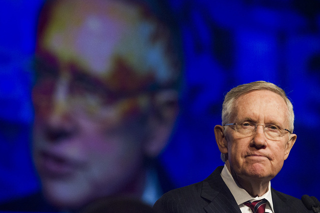U.S. Sen. Harry Reid, D-Nev. addresses the annual United Steelworkers convention at the MGM Grand Convention Center on Wednesday, Aug. 13, 2014. Reid on Friday rejected a call for travel bans from ...