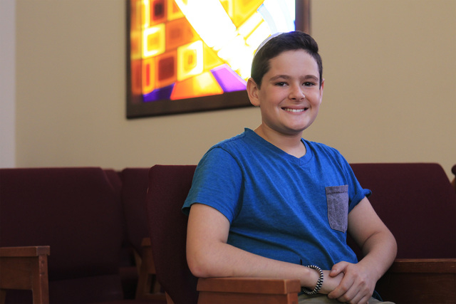 Riley Neal, who is studying for his bar mitzvah and will observe the Yom Kippur fast for the first time, is seen at Temple Beth Sholom Tuesday, Sept. 23, 2014 in Las Vegas. (Sam Morris/Las Vegas R ...
