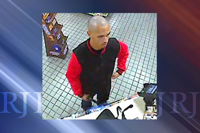 Las Vegas police are seeking the public's help in identifying a man connected to a gas station robbery in the southwest valley. (Courtesy Las Vegas Metropolitan Police Department)