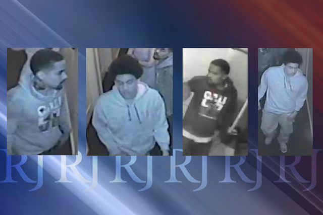 Las Vegas police are seeking the public's help in identifying two men connected to the armed robbery of a restaurant near the intersection of Paradise at Flamingo roads. (Courtesy Las Vegas Metr ...