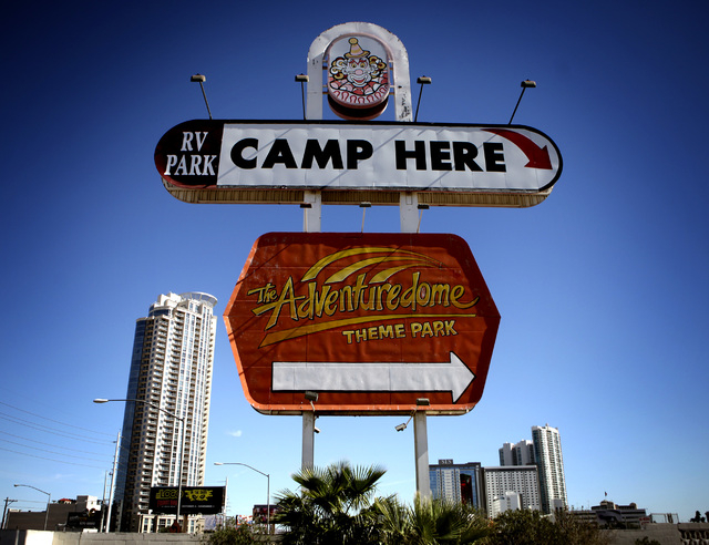 The Circus Circus RV Park sign at Sahara Avenue and Las Vegas Boulevard is seen Monday, Oct. 27, 2014. The campground is the site of the future Rock in Rio USA open-air concert venue. The joint ve ...