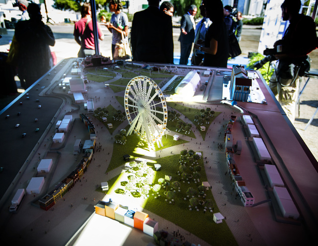 Replica of the Rock in Rio USA Rock Street  is seen Monday , Oct. 27, 2014, during the sneak-peek event at the site of the former Circus Circus RV Park. The permanent open-air concert venue sits o ...