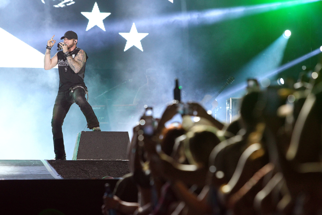 Brantley Gilbert salutes the crowd as he takes the stage during the Route 91 Harvest Festival at the MGM Resorts Village on the Strip on Friday, Oct. 3, 2014. (K.M. Cannon/Las Vegas Review-Journal)