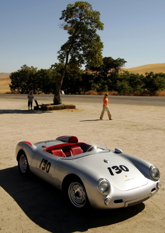 A replica of a Porsche 550 Spyder, similar to that owned and driven by U.S. actor James Dean in 1955, is seen near the intersection of Highways 46 and 41 near Cholame, California September 30, 200 ...
