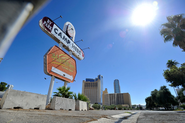 The marquee sign still stands over the former KOA RV park at Circus Circus on Friday, Oct. 3, 2014. MGM Resorts International announced this week the Circus Circus RV park had closed and would be  ...