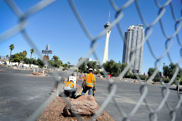 Construction crews work to dismantle the former KOA RV park at Circus Circus on Friday, Oct. 3, 2014. MGM Resorts International announced this week the Circus Circus RV park had closed and would b ...