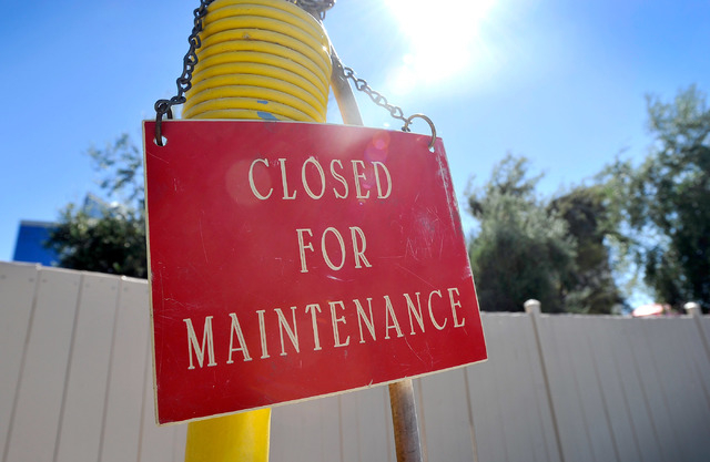 A sign is hung on equipment at the former KOA RV park at Circus Circus on Friday, Oct. 3, 2014. MGM Resorts International announced this week the Circus Circus RV park had closed and would be reno ...