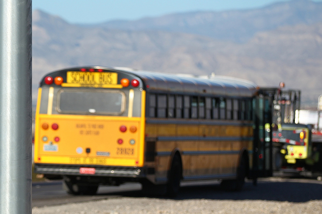 A Clark County school bus was the target of a pellet gun shooting Friday afternoon, according to Clark County School District Police Capt. Ken Young. (Chase Stevens/Las Vegas Review-Journal)