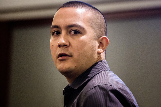Carlos Saenz III apologizes to former limousine driver Brenda Pruitt during his sentencing in Regional Justice Center on Tuesday, Oct.  28, 2014.  Judge Abbi Silver gave Saenz a six months sentenc ...