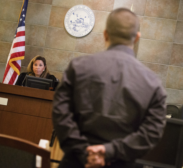 Judge Abbi Silver,left, during sentencing of Carlos Saenz III in Regional Justice Center on Tuesday, Oct.  28, 2014.  Silver gave Saenz a six months sentence for  brutally attacking former limousi ...