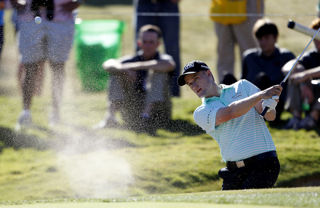 Russell Knox plays out of the bunker on the 9th green at the Shriners Hospitals for Children Open  at TPC Summerlin in Las Vegas on Sunday, Oct. 19, 2014. It was Martin's first PGA tour victory. ( ...
