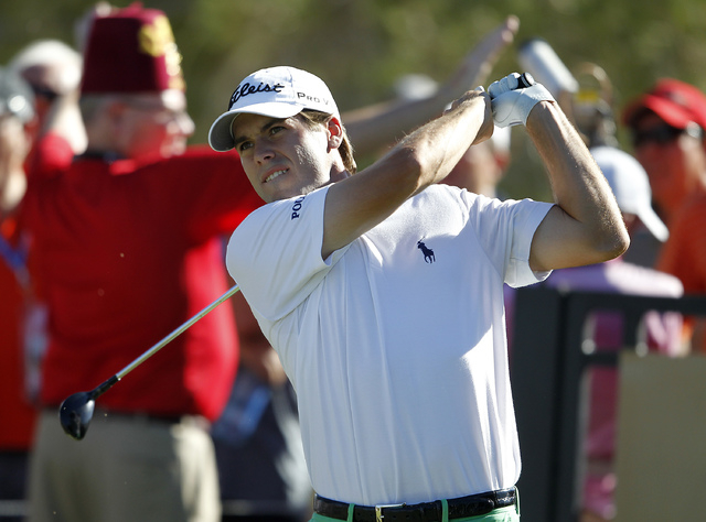 Ben Martin hits his drive on the 10th hole at the Shriners Hospitals for Children Open  at TPC Summerlin in Las Vegas on Sunday, Oct. 19, 2014. It was Martin's first PGA tour victory. (Justin Yurk ...