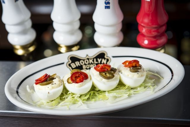 Among the appetizers offered at Brooklyn Bowl are egg shooters. (Courtesy)