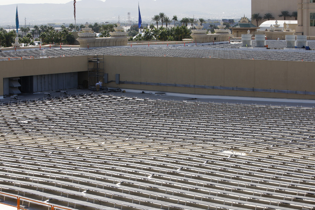 Newly installed solar panels are seen on the roof of Mandalay Bay Convention Center in Las Vegas during a tour Wednesday, Oct. 22, 2014. The solar panels are scheduled to go online Nov. 28 and wil ...