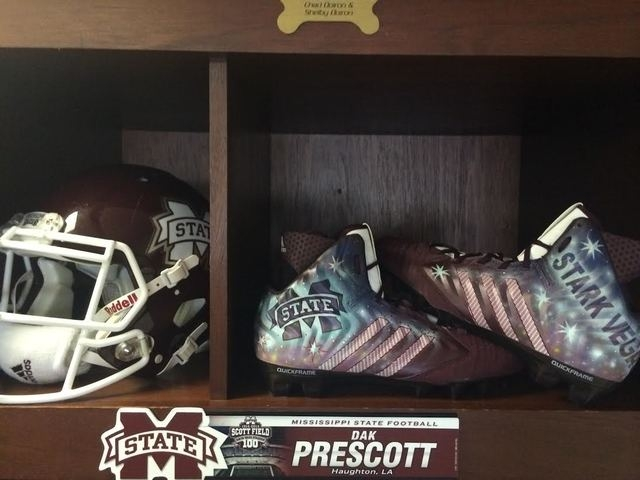"""During Saturday's 38-23 victory over Auburn, Mississippi State wore shoes that said """"Stark Vegas"""" on front. (Courtesy Adidas)"""
