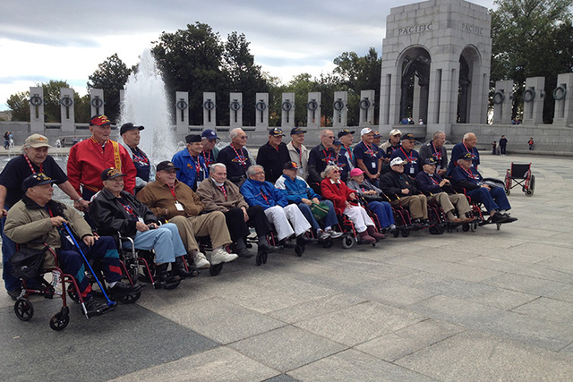Twenty-nine Southern Nevada veterans of World War II and chaperones toured the National World War II Memorial on Saturday, a trip funded and organized by Honor Flight Southern Nevada. (Steve Tetre ...