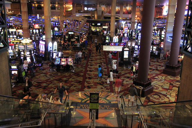 The casino floor of New York-New York is seen Oct. 22, 2014. Gaming revenues were down 12.1 percent in September on the Las Vegas Strip and declined 6 percent in Nevada. (Sam Morris/Las Vegas Revi ...