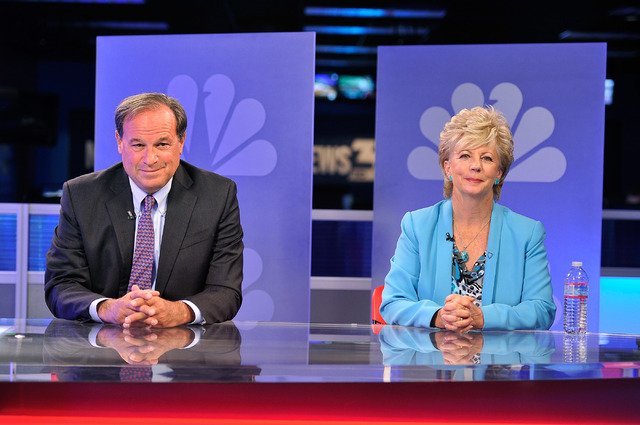 """Nevada treasurer candidates Republican Dan Schwartz, left, and Democrat Kim Wallin appear before the start of their debate on the """"Ralston Reports,"""" show at the KSNV studios in Las Vegas ..."""