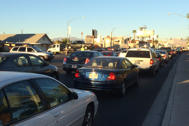 Traffic is backed up Friday morning, Oct. 31, 2014, at Tropicana Avenue and Swenson Street after an accident closed part of the intersection. (Bizu Tesfaye/Las Vegas Review-Journal)