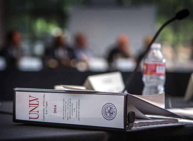 The UNLV presidential search committee meets at Marietta Tiberti Grand Hall in the Richard Tam Alumni Center on Monday, Oct. 20, 2014. About 80 people attended the meeting including the search com ...