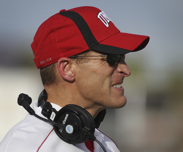 UNLV Rebels head coach Bobby Hauck show his displeasure after a the Wyoming Cowboys score a touchdown during a NCAA -- Mountain West Conference football game at Sam Boyd Stadium in Las Vegas, Nov. ...