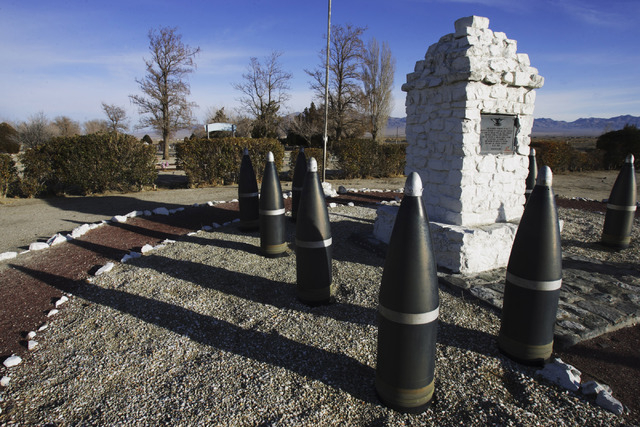 Shells circle around a memorial in the Hawthorne Cemetery in Hawthorne, Nevada on Dec. 19, 2007. American flags and patriotic artwork is seen throughout Hawthorne. (Jeff Scheid/Las Vegas Review-Jo ...