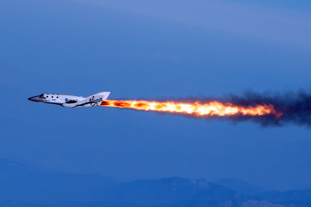 Virgin Galactic's SpaceShipTwo is shown under rocket power over Mojave, California, April 29, 2013. Virgin Galactic has reported an unspecified problem during a test flight of its SpaceShipTwo spa ...