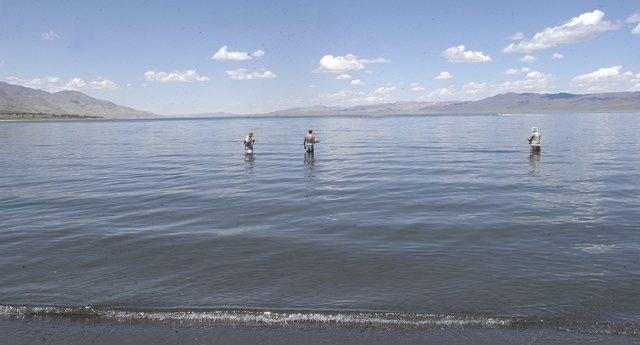 Anglers try their luck on Walker Lake, near Hawthorne, Nev., May 27, 2005.  This winter's hefty snowpack has slowed the decline of Walker Lake in northern Nevada's Mineral County, but experts say  ...