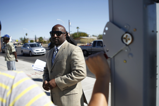 Las Vegas City Councilman Ricki Barlow stands at the intersection of Martin Luther King Boulevard and Balzar Avenue where a new crosswalk traffic light was installed Thursday, Oct. 2, 2014. (Erik  ...