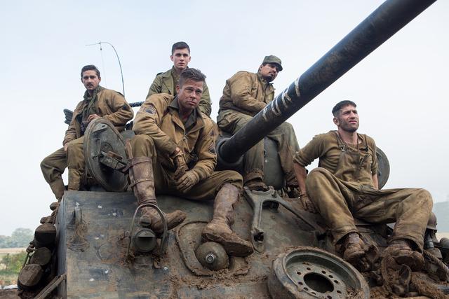 "The crew of Fury: Boyd ""Bible"" Swan (Shia LaBeouf), Norman (Logan Lerman), Wardaddy (Brad Pitt), Trini ""Gordo"" Garcia (Michael Pena) and Grady ""Coon-Ass"" Travis (Jon  ..."