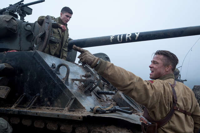 Norman (Logan Lerman) and Wardaddy (Brad Pitt) in Columbia Pictures' FURY.